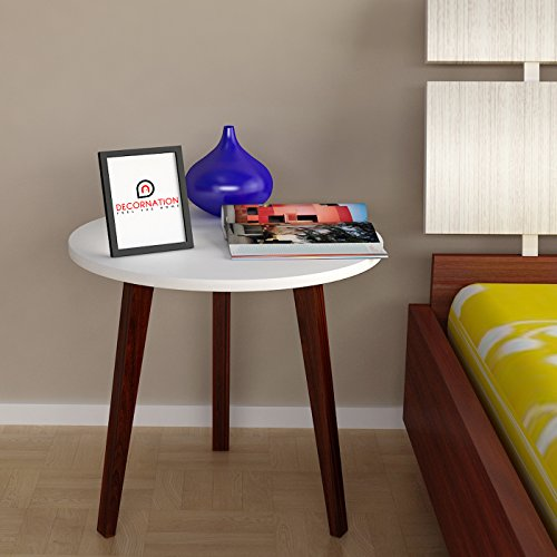 DecorNation® Amara Three Legged Wood End Table • Modern Round Coffee Table • Side Table for Magazines, Books & Plants- White  available at amazon for Rs.2499