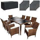 TecTake Conjunto muebles de jardín en aluminio y poly ratan 8+1 color negro marrón con set de fundas intercambiables