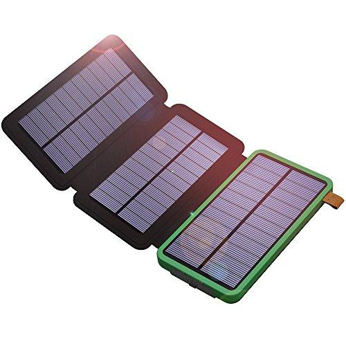 Solar Powerbank, X-DRAGON 10000mAh Solarladegerät with 3 Solarzellen für iPhone, iPad, Samsung, Huawei, Handys, Android Smartphones usw(Grün)