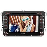 PUMPKIN 2 Din Autoradio DVD Player mit GPS Navigation 7 Zoll Touch Screen für VW Volkswagen SEAT SKODA Jetta Golf Passat Polo Beetle Touran Bluetooth unterstützt Freisprechfunktion CanBus CD Lenkradsteurung