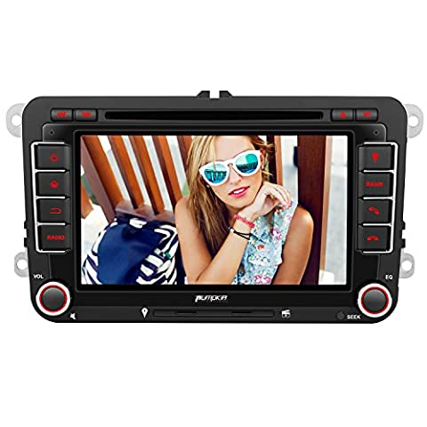 PUMPKIN 2 Din Autoradio DVD Player mit GPS Navigation 7 Zoll Touch Screen für VW Volkswagen SEAT SKODA Jetta Golf Passat Polo unterstützt Bluetooth USB SD CD CanBus Lenkradsteurung