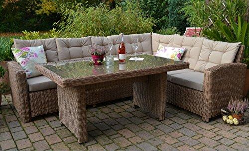Ecklounge Manhattan Gartensofa mit Tisch Natur \