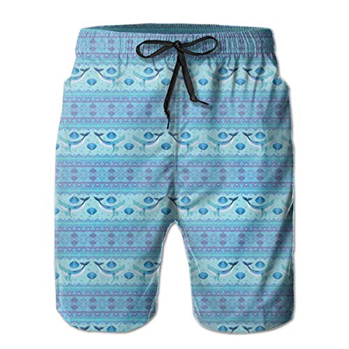 Icndpshorts Men Swim Trunks Beach Shorts,Ocean Inspired Pattern with Ethnic Geometrical Borders Fish and Scallops XL -