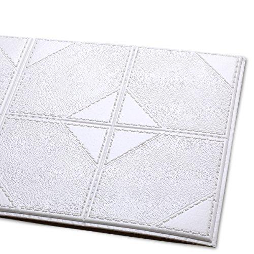 Hans-Shop 10 Stücke 60cm x 60cm 3D Ziegel Tapete PE Schaum selbstklebende geprägte Ziegel Stein Muster Tapete DIY Wandaufkleber für neues Haus Dekoration, Wohnzimmer modernes TV-Schlafzimmer (Weiß)