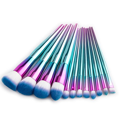 ESAILQ Neue 12 stücke Kosmetik Make-Up Pinsel Rouge Lidschatten Pinsel Set Kit (Blau) (2 Fisch-auge Blaue)