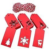 Weihnachten Etiketten Anhänger, 150 Stück Geschenkanhänger Anhänger mit Jute-Schnur 30 Meter Vervollkommnen Sie für das Dekorieren von Weihnachtsbaum, handgemachte Arbeit (Einstellen)