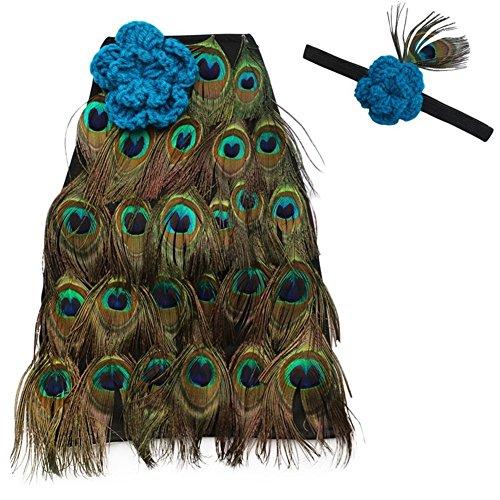Imagen de interesting® niño recién nacido unisex del pavo real de la pluma de manto con venda de la flor fotografía apoya animales conjuntos conjuntos disfraces