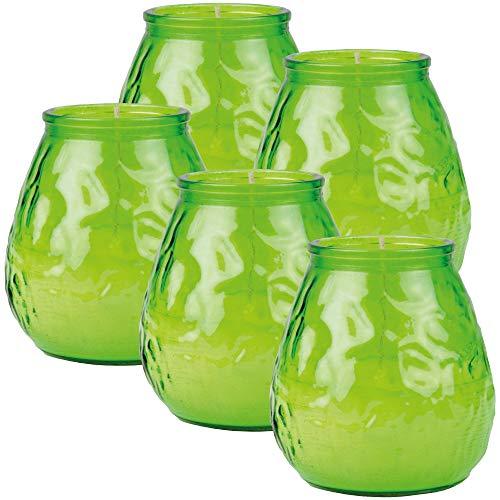 HS Candle 5er Pack Windlichter aus Glas, Windlicht ca 75h Brenndauer (Grün)