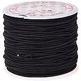 TOOGOO(R) 1 rouleau 24m Long elastique noir ronde Fil pour perler Corde 1mm