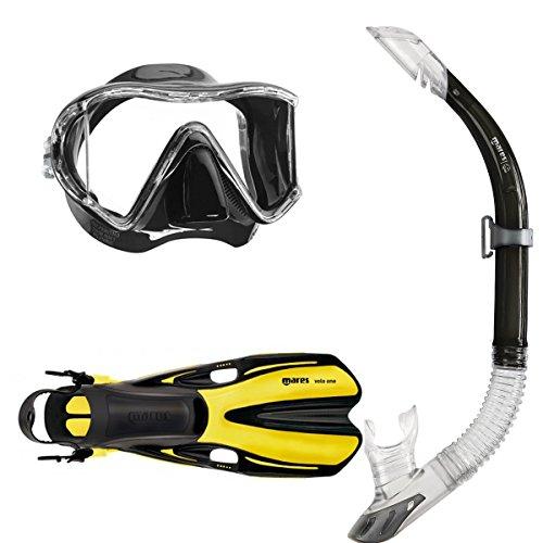 Mares i3 Masque de plongée à mono-verre + tuba Sailor + palmes de plongée Volo One Noir/Jaune M/L