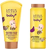 Lotus Herbals Baby+ Feathery Pecks Soft Baby Crème, 50g and Love Sprinkle No-Talc Powder, 100g