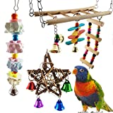 Aisamco 6 PCS Bird Swing Toy Parrrot Flexible Ladder Bird Hammock with Hanging Bell Parrot Chewing Grinding Stone for Finch,Parakeets,Cockatiels,Conures and Love Birds
