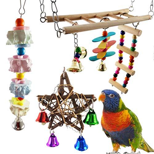 Aisamco 6 Stück Vogelschaukel Spielzeug Papageien Flexible Leiter Vogel Hängematte mit hängenden Glocken Papageien Kaustein für Finken, Sittiche, Nymphensittiche, Sittiche