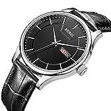 BUREI Herrenuhr Elegante Quarz-Armbanduhr Japanische Quarzwerk-Schutz-Minerallinse Analoges Zifferblatt mit Datum