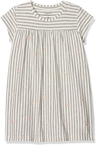 NAME IT Baby-Mädchen NBFFANALA SS BODYDRESS Kleid, Mehrfarbig (Grey Melange), 80