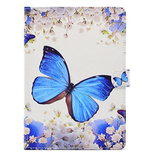 Hozor Apple iPad Air 2/iPad 6 (9.7 zoll) Hülle - Auto Sleep / Wake up und Ständer Funktion Smart Case Cover Schutzhülle Flip Bookcase Etui Leder Tasche mit Frei 1 x Stift [Blauer Schmetterling]