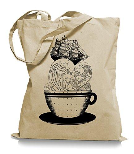 Ma2ca® Cup of Ship - Schiff Jutebeutel Stoffbeutel Tragetasche / Bag WM101-sand (Alice Rucksack)