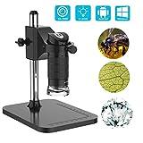 USB Microscopio, fotocamera digitale con microscopio a lente d'ingrandimento regolabile a LED da 1000 MP 2X con supporto