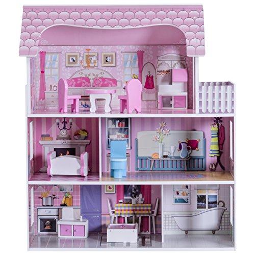 COSTWAY Puppenhaus Holz Puppenstube Puppenvilla Mädchen Spielzeug 3 Etagen mit Möbeln und Zubehör (Große Puppenstube Für Mädchen)