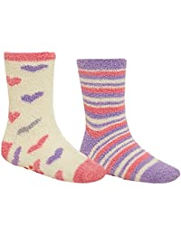 Ladies Supersoft Non Slip 2 Pack Lounge Socks