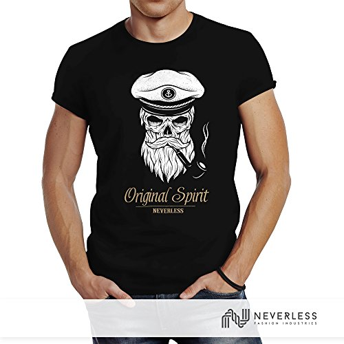 Neverless Herren T-Shirt Totenkopf Kapitän Captain Skull Bard Hipster Original Spirit Seemann Slim Fit Dunkelgrau