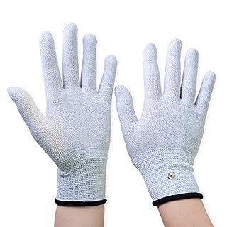 Aituo 1 Paar silberne leitfähige Handschuhe für den Einsatz mit TENS Maschine (Large)