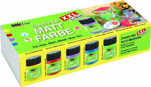 HOBBY LINE 75900 - Acryl-Mattfarbe Creativ Set XXL 5 x 50 ml