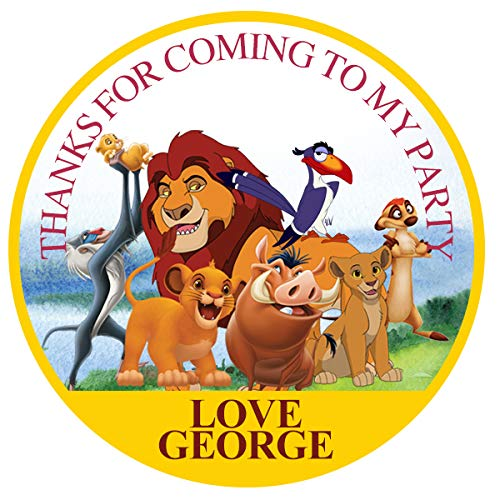 """design buddies Personalised Lion king birthday 50mm 2"""" Stickers thank you labels,thank you for coming to my party labels DS2"""