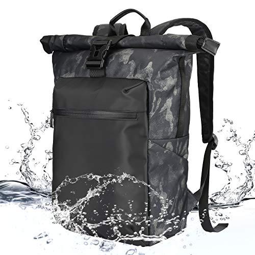 Lifeasy zaino uomo da viaggio, zaino militare impermeabile sportivo per pc portatile con roll top (nero mimetico)