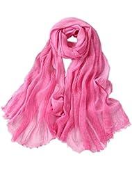 Prettystern - langer Schal 210 cm Seide & Baumwolle Batik gewaschene Optik unifarbe Tuch Damen Herren - Farbauswahl