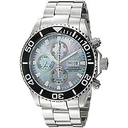 Invicta Men's Pro Diver Steel Bracelet & Case Flame-Fusion Crystal Automatic Platinum Dial Watch 18911