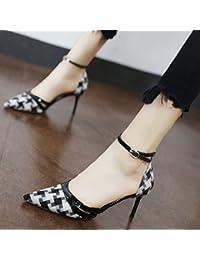 Xue Qiqi Carrière Simple fine vidéo femmes chaussures à talons hauts avec fine pointe de buse de la lumière de l'unique Clip ceinture chaussures chaussures à talons hauts,37, Beige