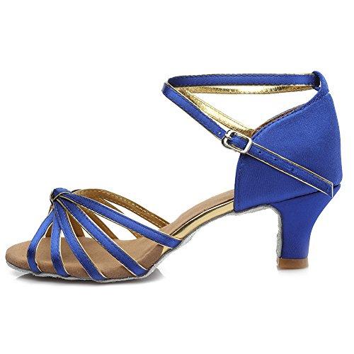HIPPOSEUS Damen & Mädchen Sandalen Ausgestelltes Tanzschuhe/Ballsaal Standard Satin Latein Dance Schuhe,DE217-5,Blau,EU 39 - 2