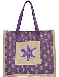 Fusetrend Women's Jute Handbags(Brown And Violet)
