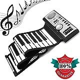Lychee Keyboard Piano Rollpiano Elektronischer Klaviertastatur Flexible und Tragbar mit 61 Tasten Netz und Batteriebetrieb