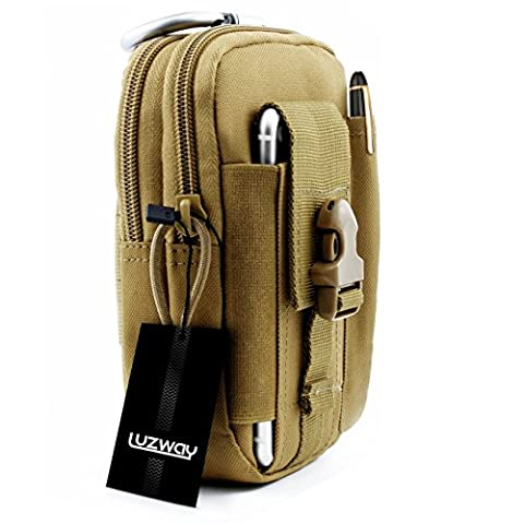 Hiking Waist Pack Tactical Bag Tactical MOLLE Pouch Compact 1000D Nylon Multi-Purpose Utility Gadget Tool Belt with Aluminum Carabiner for Outdoor Hiking Camping Cycling Fishing Daily Use (Colour Khaki)