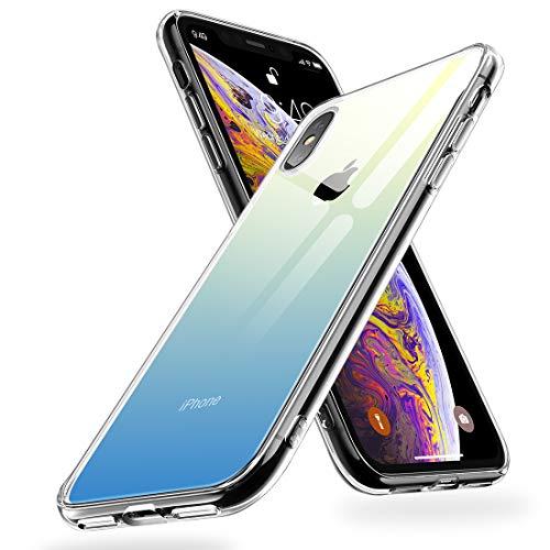 Humixx iPhone XS Hülle,iPhone X Hülle,Hochwertigem 9H Gehärtetem Glas Rückseite mit TPU Rahmen Schutzhülle, Ultra Dünn Handyhülle,Perfekter Schutz Hülle für iPhone XS/X(5.8) - Blau