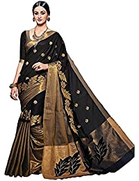 Arawins Party Wear Black Cotton Saree With Cotton Blouse