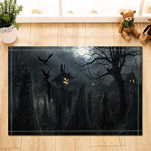 caichaxin Black Horror Night Sky Halloween Kürbiskopf Grass Man Crow Abriebfeste, rutschfeste, weiche Badezimmermatte