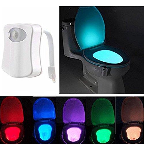 Lampada notturne igienici bagno led luce di notte sensor rivelatore pir 8 cambiamento di colori per sedili wc ufficio facilità di bagno wc lavabo creativo regalo per nonna famiglia bambino (1 pack)