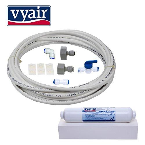 Vyair RO DA97–01469D Wasser Filter Installation und Connection Kit für Samsung American Style Kühlschrank mit integriertem Eis und Wasser Spender (inklusive WSF-100Kompatible Tintenpatrone und 10Meter von 1/10,2cm/6,4mm Durchmesser Tube) Eis Kühlschrank