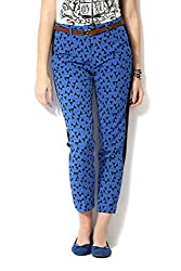 Allen Solly Womens Slim Pants (AWPN316C00361_Black with Blue_34)