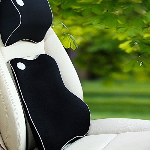 Preisvergleich Produktbild Car Lumbar Cushion,Cloud-Castle Car Lendenwirbelstütze Back Kissen und Car Neck Pillow Kit - Premium Memory Schaum mit Mesh Cover - Universal Fit Major Auto Sitz - Ideal Auto zurück Unterstützung für Road Trip Fahren (Schwarz)