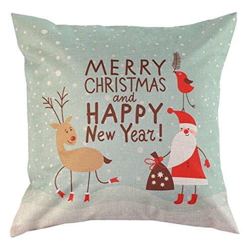 Housses Coussins décoratifs avec éléments de noël pour décoration maison fête Noël 11