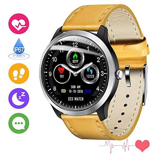 N58EKG PPG Smart Watch Männer IP67 Wasserdicht SportPulsmesserBlutdruckSchrittzähler Sport Fitness Armband Männer Frauen Im FreienElektronik Geräte Gerät für Android ios, LQXXX, Gelb