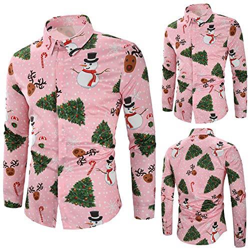 URSING Herren Hemd Langarmhemd Weihnachten Santa Thema Knöpfbar Langarm Stehkragen Shirt Retro Casual Slim Fit Druck Button Down Shirt Weihnachtshemd Herrenmode