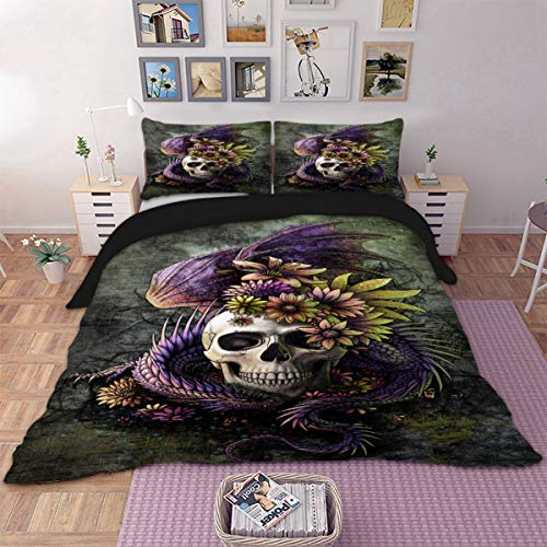 WONGS BEDDING Blumen und Schädel 3pcs Bettbezug-Set lila grün Drachen Blumen Shull Mikrofaser Bettwäsche Set Double