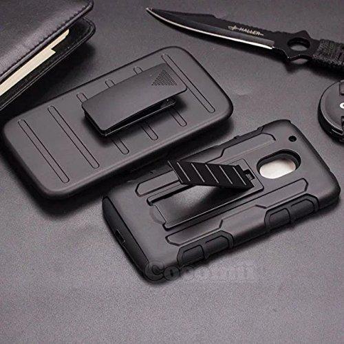 Motorola Moto G4 Play Hülle, Cocomii Robot Armor NEW [Heavy Duty] Premium Belt Clip Holster Kickstand Shockproof Hard Bumper Shell [Military Defender] Full Body Dual Layer Rugged Cover Case Schutzhülle XT1604 XT1602 XT1607 XT1609 XT1601 XT1603 (Black)