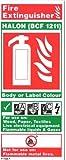 FSSS Ltd Feuerlöscher ID STARRER Kunststoff Vertikale BCF Halone 1211von 80x 200mm O/S