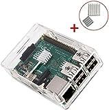 KuGi Raspberry Pi 3 Model B case - High quality PC Protective Case with 2x Heatsinks for Raspberry Pi 3 Model B, Pi 2 Model B & Pi Model B+ (Clear)